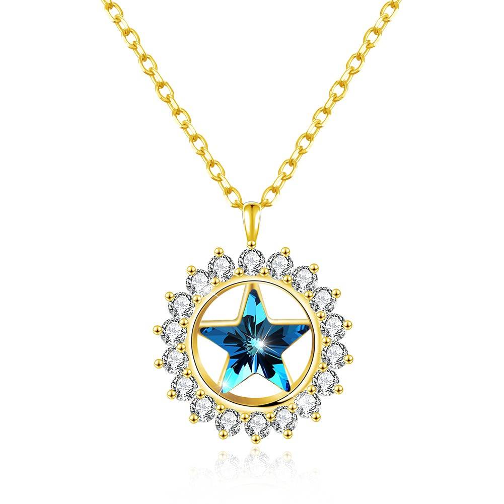 Tinnivi Halo Blue Austrian Crystal Star Design Gold Palted Sterling Silver Pendant Necklace