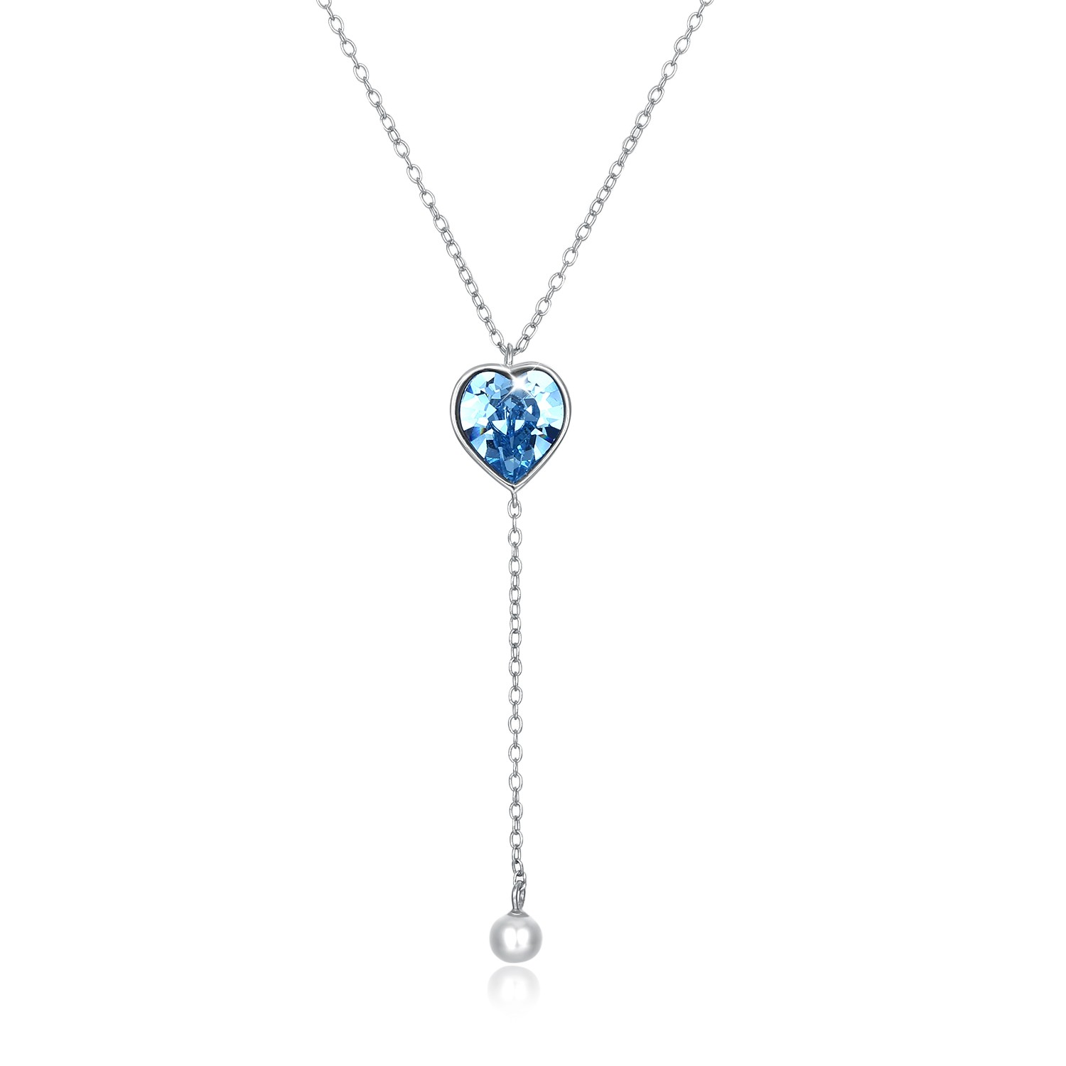 Tinnivi Blue Austrian Crystal With Pearl Sterling Silver Pendant Necklace