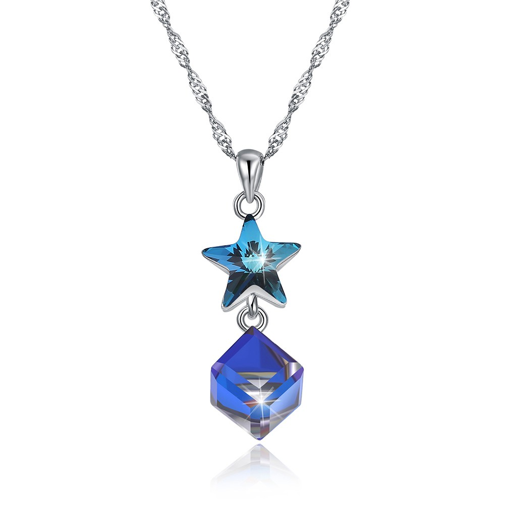 Tinnivi Star Design Sterling Silver Austrian Crystal Pendant Necklace