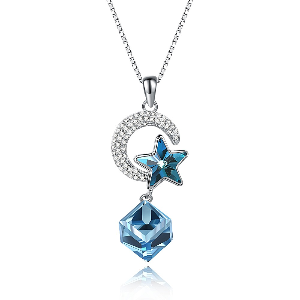 Tinnivi Sterling Silver Star Blue Austrian Crystal Pendant Necklace