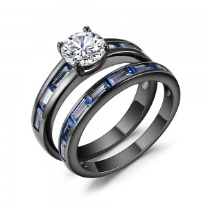 Round Cut White Sapphire Black 925 Silver Engagement Rings