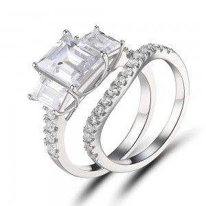 Women's Emerald Cut White Sapphire 925 Sterling Silver Engagement Ring