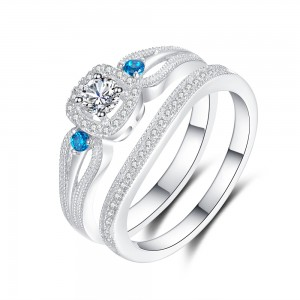 Aquamarine and White Sapphire 925 Sterling Silver Women's Engagement Ring