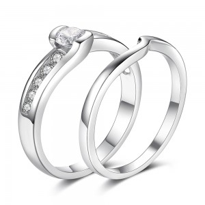 Elegant Round Cut White Sapphire Sterling Silver Women's Engagement Ring