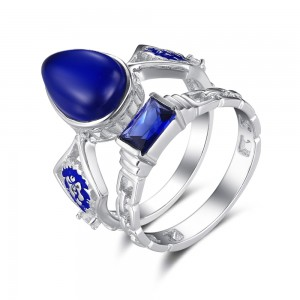 Fashion Pear Cut Sapphire 925 Sterling Silver Women's Engagement Ring