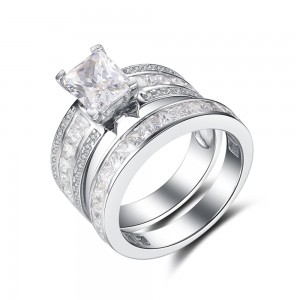 Emerald Cut White Sapphire 925 Sterling Silver Bridal Women's Ring