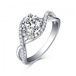 Tinnivi Sterling Silver Unique Round Cut Created White Sapphire Halo Engagement Ring