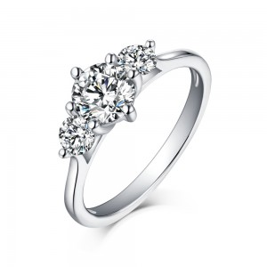 Round Cut Three Stone White Sapphire 925 Sterling Silver Engagement Rings