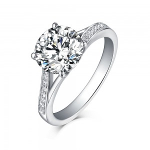 Tinnivi Sterling Silver Round Cut Created White Sapphire Modern Bypass Engagement Ring