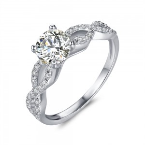 1/4 CT.TW. Round Cut Gemstone 925 Sterling Silver Engagement Ring