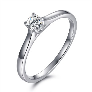 Round Cut 1/6 CT. Gemstone Sterling Silver Engagement Ring