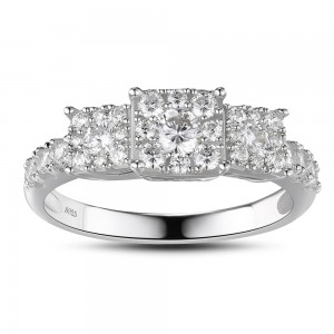 Tinnivi Sterling Silver Created White Sapphire 3-Stone Halo Engagement Ring