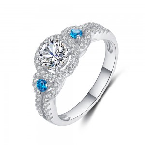 Women's Blue and Aquamarine 925 Sterling Silver Engagement Ring