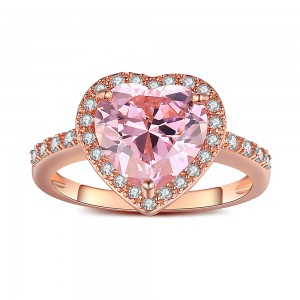 Heart Cut Pink Sapphire Rose Gold 925 Sterling Silver Engagement Ring