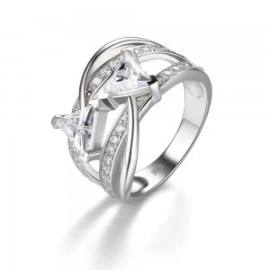 Trillion Cut White Sapphire 925 Sterling Silver Engagement Ring