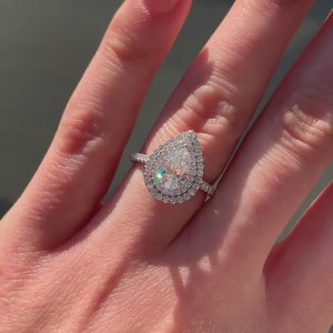 Pear Cut White Sapphire 925 Sterling Silver Double Halo Engagement Ring