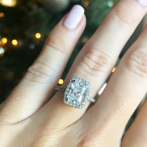Stunning Radiant Cut White Sapphire 925 Sterling Silver Halo Engagement Ring