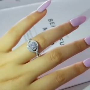 Tinnivi Round Cut White Sapphire 925 Sterling Silver Engagement Ring