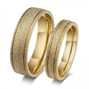 Stylish Gold Titanium Steel Promise Ring for Couples