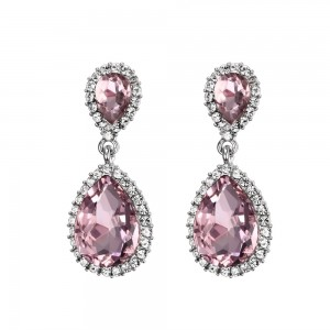 925 Sterling Silver Pear Cut Pink Sapphire Earrings