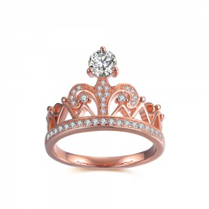 Crown Round Cut White Sapphire 925 Sterling Silver Women's Ring