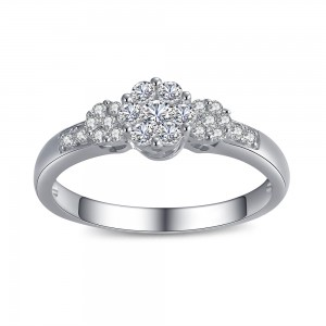 Three Flowers Round Cut White Sapphire 925 Sterling Silver Engagement Ring
