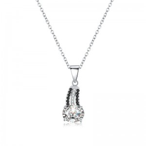 Tinnivi Simple Oval Cut Created White Sapphire Sterling Silver Pendant Necklace
