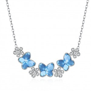 Tinnivi Flower Butterfly Blue Austrian Crystal Sterling Silver Pendant Necklace