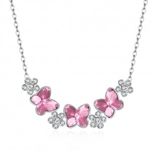 Tinnivi Flower Butterfly Pink Austrian Crystal Sterling Silver Pendant Necklace