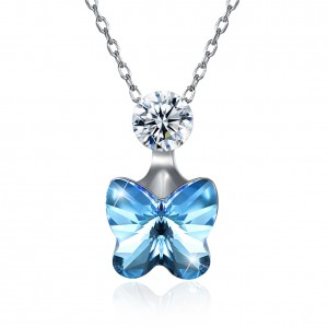 Tinnivi Blue Austrian Crystal Butterfly Design Sterling Silver Pendant Necklace