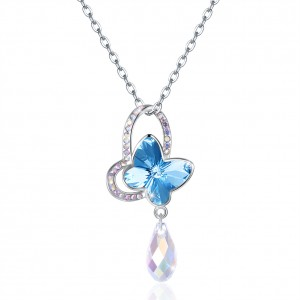 Tinnivi Blue Austrian Crystal Butterfly Sterling Silver Pendant Necklace