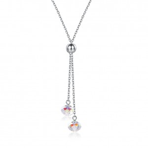 Tinnivi Fashion Ball Design Austrian Crystal Sterling Silver Pendant Necklace