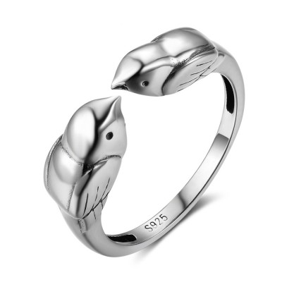 Tinnivi Cute Birds Open Sterling Silver Womens Ring