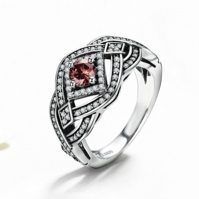 Round Cut Garnet Vintage Winding 925 Sterling Silver Promise Ring For Her