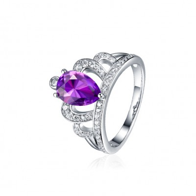 Pear Cut Amethyst Crown Peomise Rings For Her