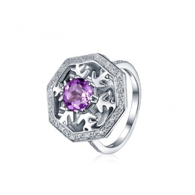 Round Cut Amethyst Snowflake Promise Rings For Her