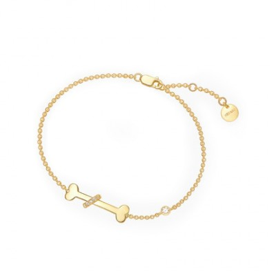 Tinnivi Gold Plated Dog Bone With Created White Sapphire Silver Bracelet
