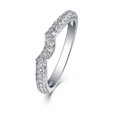 Tinnivi Sterling Silver Contour Stackable Wedding Band Ring