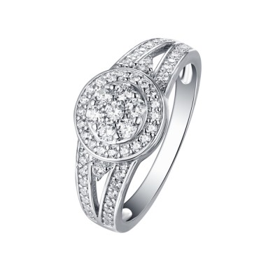 Tinnivi Sterling Silver Round Cut Created White Sapphire Composite Halo Engagement Ring