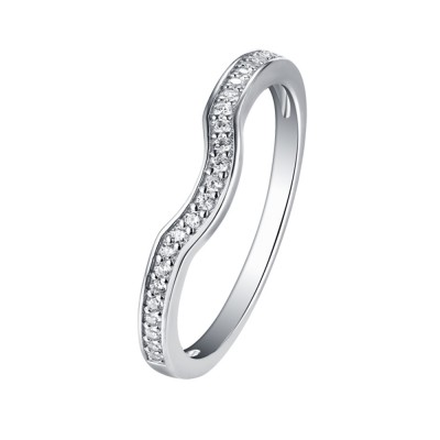 Tinnivi Sterling Silver Contour Stackable Women's Wedding Band