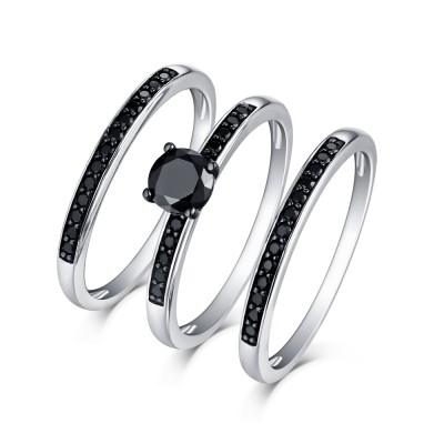 Tinnivi Classic Sterling Silver Black Diamond 3PC Women's Wedding Set