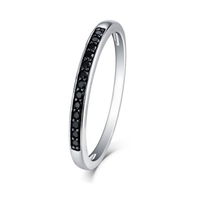 Tinnivi Sterling Silver Pave Black Diamond Created  Stackable Wedding Band