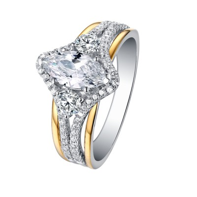 Tinnivi Gold Over Sterling Silver Marquise Cut Created White Sapphire Engagement Ring