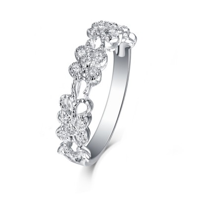 Tinnivi Sterling Silver Round Cut Created White Sapphire Floral Band
