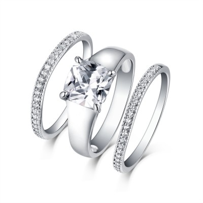 Tinnivi Sterling Silver Classic Cushion Cut Created White Sapphire 3PC Wedding Ring Set
