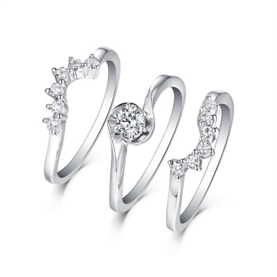 Tinnivi Sterling Silver Created White Sapphire Vintage Style 3 Piece Wedding Ring Set