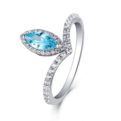 Tinnivi Sterling Silver Marquise Cut Created Aquamarine Unique Engagement Ring