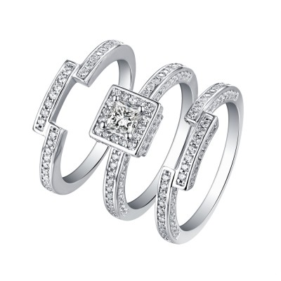 Tinnivi Sterling Silver Princess Cut Created White Sapphire Vintage 3 Piece Wedding Ring Set