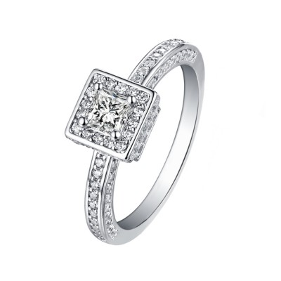 Tinnivi Sterling Silver Princess Cut Created White Sapphire Halo Engagement Ring