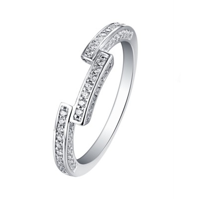 Tinnivi Sterling Silver Accent Contour Wedding Band